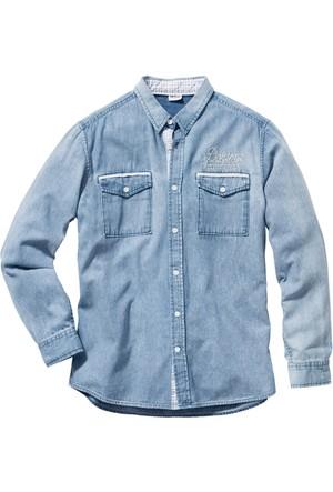 John Baner Jeanswear Mavi Uzun Kollu Jean Gömlek Regular Fit