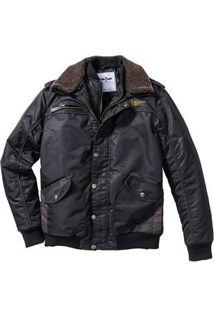 John Baner Jeanswear Siyah Kürk Yakalı Ceket Regular Fit