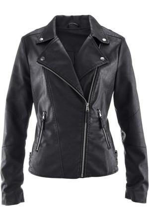 Bpc Bonprix Collection - Siyah Biker Tarz Deri Ceket