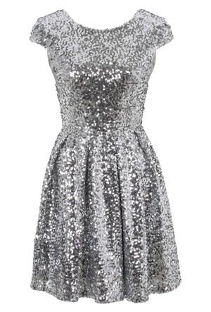 Bodyflirt Boutique Gümüş Rengi Payetli Elbise