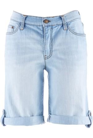 John Baner Jeanswear Kadın Mavi Taşlanmış Kısa Şort