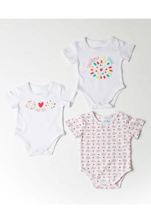 Losan Kız Bebek Kısa Kol Body 3Lü Set