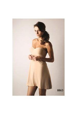 Magic Form 8863 Düz Kumaşlı Sütyenli Askısız Elbise Jüpon