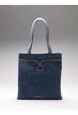 Victorias Secret London Jeans Denim Kumaş Omuz Çantası - Small