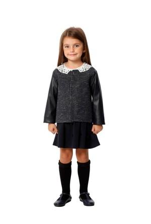 Goose Kız Çocuk Deri Garnili Simli Ceket