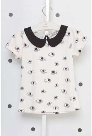 Goose Kız Çocuk Bebe Yaka Göz Baskılı T-Shirt