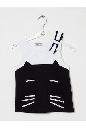 Goose Kız Çocuk Kedili Örme T-Shirt