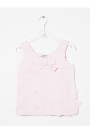 Goose Kız Çocuk Fiyonklu Çiçek Suzineli T-Shirt