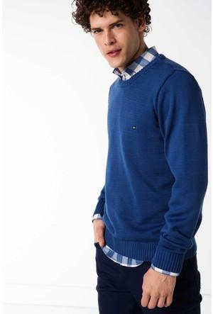 Defacto Erkek Mavi Armalı Basic Triko Kazak