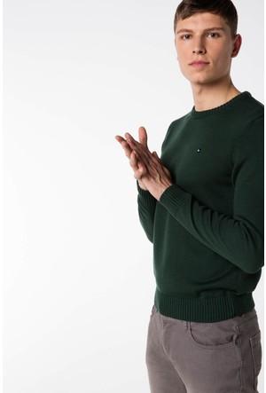 DeFacto Erkek Yeşil Armalı Basic Triko Kazak