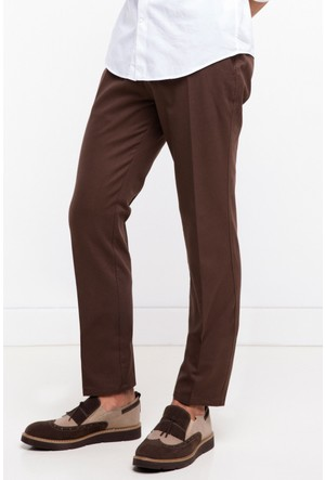 DeFacto Erkek Koyu Kahverengi Gabardin Basic Chino Pantolon