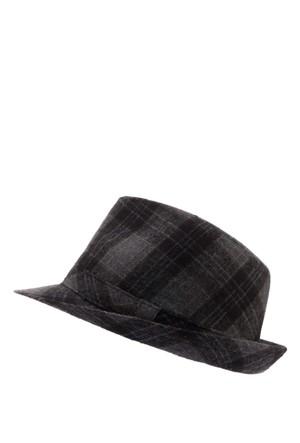 DeFacto Erkek Füme Kareli Fötr Şapka