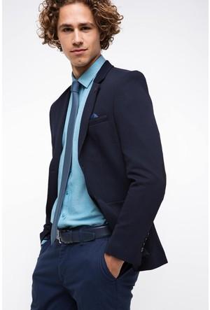 Defacto Erkek Lacivert Mendilli Ceket