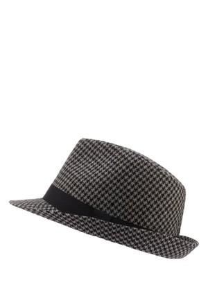 DeFacto Erkek Siyah Mikro Desenli Fötr Şapka