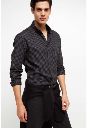 Defacto Erkek Füme Modern Fit Kareli Gömlek