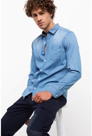 Defacto Erkek Mavi Tek Cep Denim Gömlek