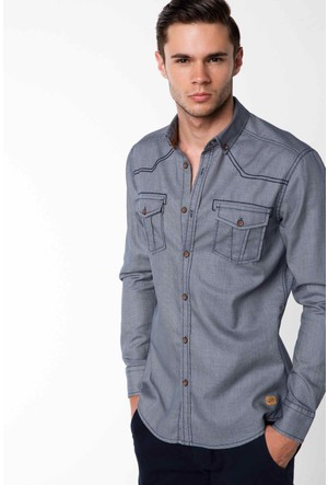 DeFacto Erkek Gri Trend Gömlek