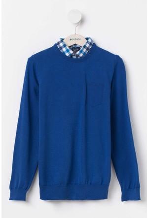 Defacto Gömlek Yakalı Genç Erkek Mavi Kazak
