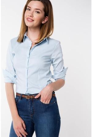 Defacto Kadın Turkuaz Basic Gömlek
