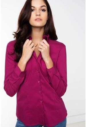 Defacto Kadın Vişne Basic Gömlek