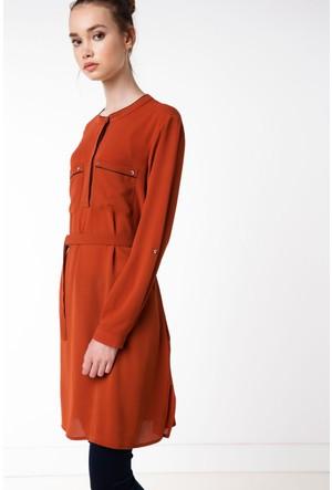 Defacto Kadın Turuncu Cep Detaylı Tunik