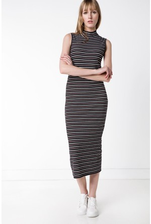 Defacto Kadın Siyah Çizgili Uzun Elbise