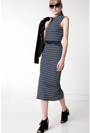 DeFacto Kadın Mavi Çizgili Uzun Elbise
