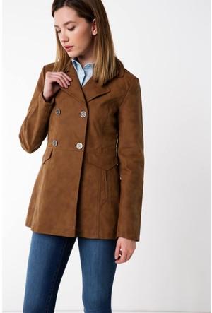 Defacto Kadın Kahverengi Suni Deri Ceket