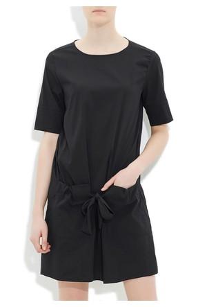 Mavi Siyah Cepli Elbise