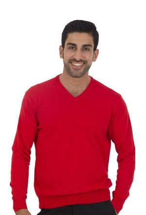 TheDON V Yaka Kırmızı Renk Erkek Triko