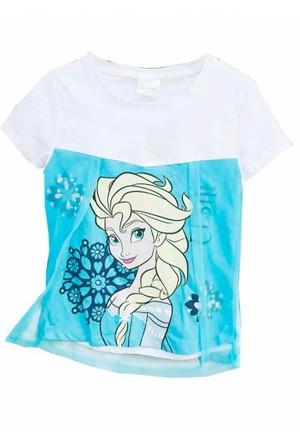 Frozen Tshirt Tüllü - Elsa Tişört - Beyaz