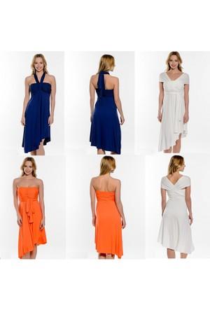 Penye Mood Viskon 3 Şekilde Giyilen Elbise Portakal