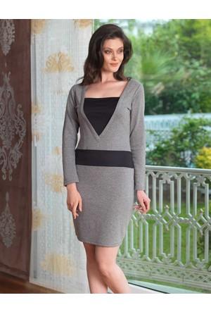 Mel Bee Derin Yaka Kadın Ev Elbisesi Gri MBP23030-1
