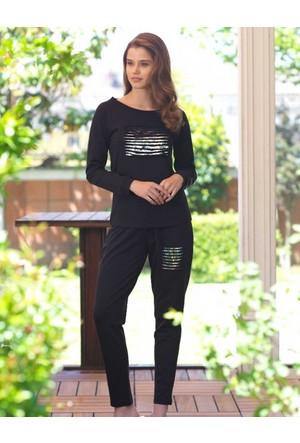 Mel Bee Kadın Pijama Takımı Siyah MBP23011-1