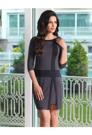 Mel Bee Kayık Yaka Kadın Ev Elbisesi Siyah MBP23031-1