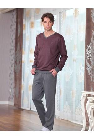 Şahinler Baskılı Erkek Pijama Takımı Bordo MEP23221-1