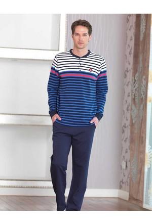 Şahinler Düğmeli Erkek Pijama Takımı Lacivert MEP23228-1