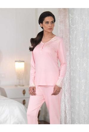 Şahinler Düğmeli Kadın Pijama Takımı Pudra MBP23110-1