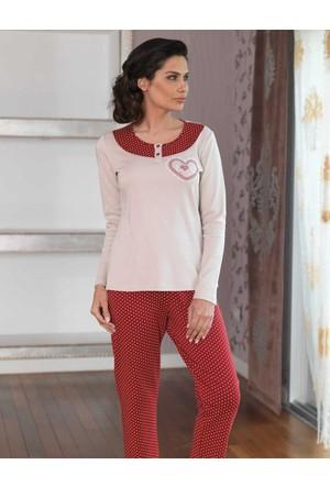 Şahinler Düğmeli Kadın Pijama Takımı Vizon MBP23102-1