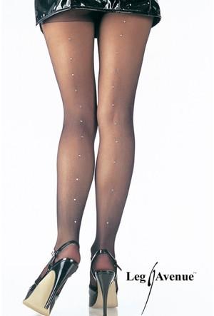 Leg Avenue Sıralı Parlak Taşlı Külotlu Çorap 9909kr