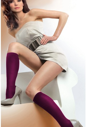 Gabriella 3'lü Paket Mor Mikrofiber Dizaltı Çorap PODK MICRO PLUM