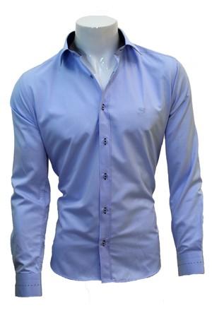Megaldi Erkek Gömlek Spor Slim Fit Buz Mavi 30202
