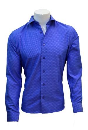 Megaldi Erkek Gömlek Slim Fit Armürlü Mavi 30203