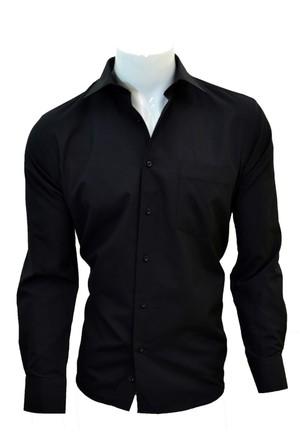 Megaldi Erkek Gömlek Klasik Kesim Siyah Armürlü 30209