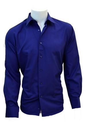 Megaldi Erkek Gömlek Klasik Kesim Lacivert Armürlü 30211
