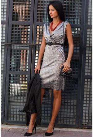 Bsl Fashion Gümüş Elbise 7875