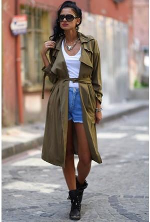 Bsl Fashion Haki Yelek Trenchcoat 7663