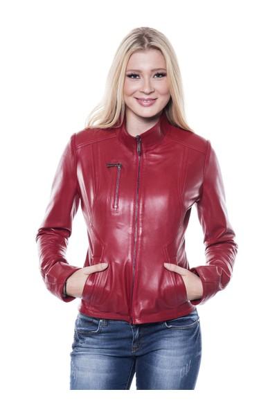 İparelde B07 Bayan Kırmızı Deri Ceket