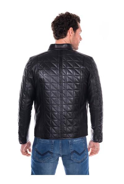 İparelde E02 Siyah Erkek Deri Ceket