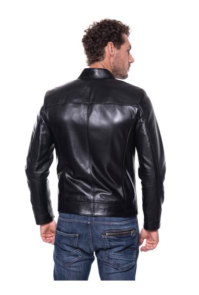 İparelde E88 Siyah Erkek Deri Ceket